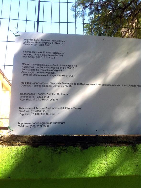Terreno encontra-se perto do número 200 na Felipe Camarão, mas licença ambiental é para número 503.